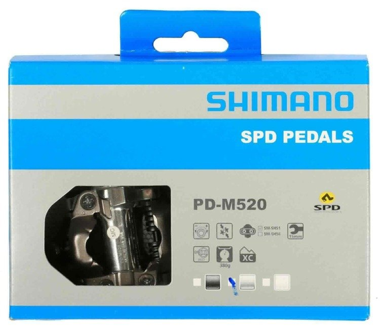 Shimano PD-M520 - SPD pedals cycling + blocks (silver)